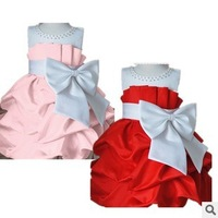 2013 autumn children Party dress girls High-grade pretty Princess dresses chiffon Big bowknot dress childrens dress