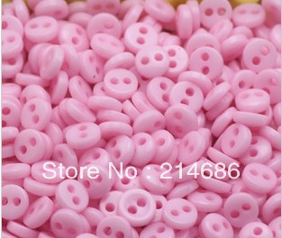 """Free wholesale 100pcs lots pink Resin Mini Micro diy dolls/kids clothes sewing round buttons Scrapbook 5mm 0.2"""" Knopf Bouton(China (Mainland))"""