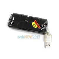 O3T# USB 2.0 4 Port Mini HUB High Speed 480 Mbps Black