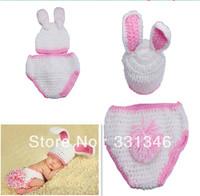 1pc Pink Rabbit  Newborn Baby Velvet Boy Girl Crochet Aminal Beanie Hat Cap Costume Set Photo Prop For 0-12 Months Free ship