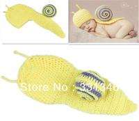 1pc Snail Newborn Baby Crochet Velvet Boy Girl Aminal Beanie Hat Cap Costume Set Photo Prop For 0-12 Months Free shipping
