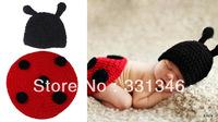 1x Ladybug Newborn Baby Velvet Boy Girl Crochet Aminal Beanie Hat Cap Costume Set Photo Prop For 0-6 Months Free shipping