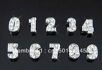 100pcs 8mm rhinestone number DIY charms