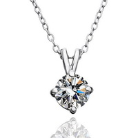 White Gold Plated 10mm Rhinestone Pendant Wedding Jewelry Necklace Make With Swarovski Elements Crystal Wholesale Accessories