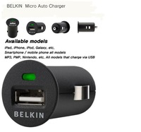 Free shipping! Belkin Auto Charger Mini  USB  5V 1A Car Charger  for Mobilephone  MP3 MP4 MP5 DVR GPS other Electronics1pcs/lot