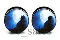 Moonlight Black Cat Acrylic flesh tunnel ear plug gauges screw on the back Mix 10 sizes 60 pcs