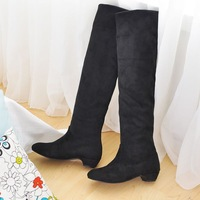 2012 spring and autumn repair elastic scrub velvet round toe high-leg two ways low-heeled boots female boots