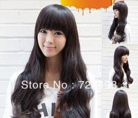 Fashion Long straight women's Girl full Hair Wig cosplay wig Dark brown
