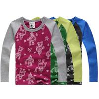 2014 autumn children's clothing robot baby child male female child basic shirts long-sleeve T-shirt Children's T-Shirt