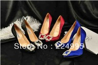 Hangis jeweled blue satin wedding shoes women high heels pointed pump dress shoe
