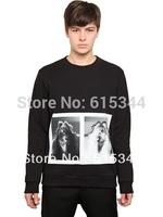 2014 Cheap Wholesale new Style Sweatshirt Men Crew neck Long Sleeve Printed Pullover Sweat Shirts Black