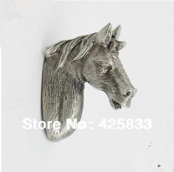 2pcs  Horse Pulls Terne Metal Antique Silver Knobs Cabinet Door Kids Animal Handle Drawer Pulls Kids Dresser Knobs and Pulls