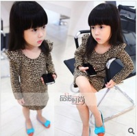 Free Shipping children's clothing kids cotton dress autumn long-sleeve long tshirts for girl leopard dresses