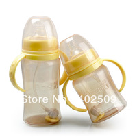 2013 Hot 210ml/300ml PP newborn baby BPA Free automatic feeding bottle with straw/brush & handle agent