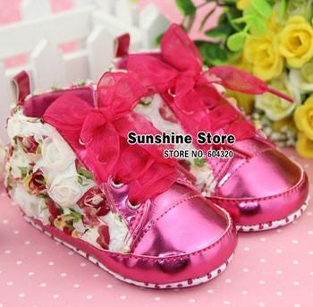Sunshine store #2B2036 3 pair/lot(red greem )BABY girls shoes shabby flower !antiskid prewalker rosset bow autumn Christmas CPAM