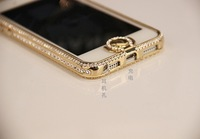 High Quality Fashion  Bling Luxury Diamond & Aluminum hybrid case for iphone 5 Crystal bumper with rhinestone,Free Shipping
