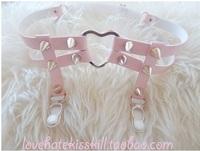 Sweet heart rivet sock garters lovely pink 100% handmade genuine leather rivet sock garters double bands free shipping
