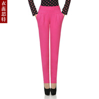 Clothing high elastic waist pants candy color casual pants pencil pants