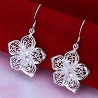 Factory price top quaility 925 sterling silver jewelry earring fine five petal drop jewelry earrings free shipping SMTE035