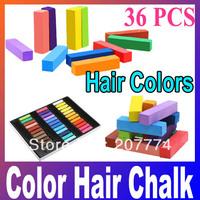 New 36Pcs Fashion Non-toxic Temporary Color Hair Chalk Dye Pastels ,Free Shipping