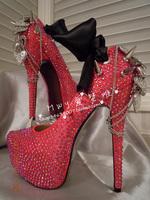 women's Noble rhinestone the bride wedding shoes   red silks and satins vintage love rhinestone   wedding   shoes