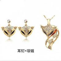 Wholesale Fashion 18K white gold plated austrian crystal Fox beauty pendant necklace+earrings women jewelry sets