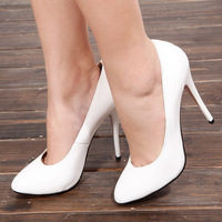 New arrival 2013 ultra high heels women's japanned leather shoes white high-heeled shoes pointed toe high-heeled shoes plus size
