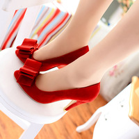 Small wedding shoes customize high-heeled shoes 31 32 princess 33 red plus size single shoes women's shoes 40 - 43 bridal shoes