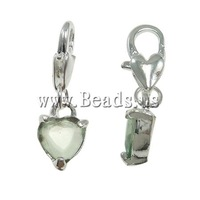 Free shipping!!!Zinc Alloy Lobster Clasp Charm,Costume jewelry, Heart, nickel, lead & cadmium free, 8x25x4mm, Hole:Approx 5x4mm