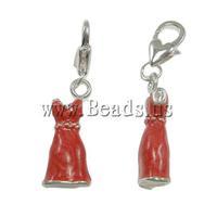 Free shipping!!!Zinc Alloy Lobster Clasp Charm,Elegant, Garment, enamel, red, nickel, lead & cadmium free, 10x38x6mm