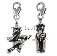 Free shipping!!!Zinc Alloy Lobster Clasp Charm,Female Jewelry, Boy, antique silver color plated, nickel, lead & cadmium free