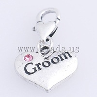 Free shipping!!!Zinc Alloy Lobster Clasp Charm,Famous Jewelry, Heart, nickel, lead & cadmium free, 28x16x3mm, Hole:Approx 4mm