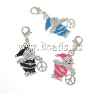 Free shipping!!!Zinc Alloy Lobster Clasp Charm,Jewelry Blanks, with Brass, Santa Claus, silver color plated, enamel