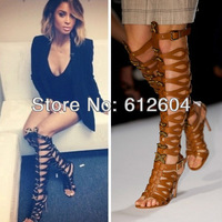 2013 Hotest women high heel sandal boots sequined metal leaf bowtie gladiator boots over knee cream boot plus size 10 11 12