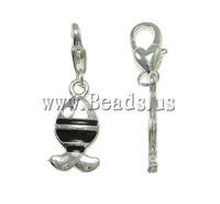 Free shipping!!!Zinc Alloy Lobster Clasp Charm,Bulk Jewelry, Fish, enamel, nickel, lead & cadmium free, 12x35x4mm