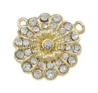 Free shipping!!!Zinc Alloy Magnetic Clasp,Love Jewelry, Flower, gold color plated, with rhinestone, nickel, lead & cadmium free
