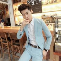 Spring male casual suit light blue male slim black suit men's clothing khaki blazer