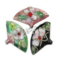 Free shipping!!!Filigree Cloisonne Beads,Inspirational, Coin, 24x15x4mm, Hole:Approx 2x1.5mm, 60PCs/Ba Sold By Bag