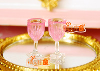 Doll house mini dollhouse furniture 2 plastic champagne cup mini