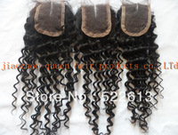 "free shipping middle part deep curly brazilian hair lace top closures 4x4""swiss lace closure bleached knots by DHL"