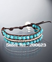 New Arrival Must Have 3 Rows 6mm Turquoise Bead Black Leather Wrap Bracelet , Hot Sale Fashion Wrap Bracelet