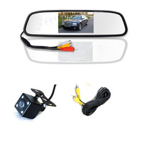 LED night vision mirror monitor 4.3Inch car TFT  + ccd hd parking line camera system AV2 for back-view camera