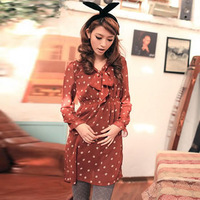 12 2013 spring and summer female basic dot long-sleeve o-neck chiffon skirt one-piece dress