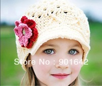 1PC Retail 100% Handmade  Crochet Girls White Hat With Pink Red Flower For Spring Autumn Free Shipping