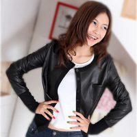 S-4XL. Free Shipping! 2014 Sheepskin Clothes Outerwear. Fall Genuine leather Female Short Design Slim Plus Size Jacket