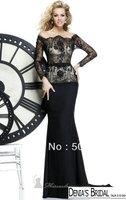 Glamorous Off the Shoulder Lace Bodice Sash Long Sleeve Mermaid Evening Dresses
