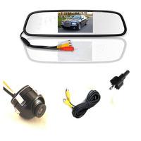 Night vision mirror monitor 4.3Inch car TFT  +360 degree  parking line camera system AV2 for back-view camera