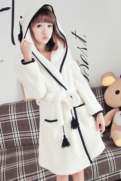 Bachas Blancas Para Baño:Plus Size Flannel Robe Women