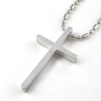 Fashion brief elegant black and white glossy titanium cross pendant handsome male necklace