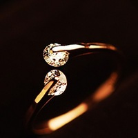 Smarten brief all-match kalyptolith double crystal open transhipped ring female gold finger ring